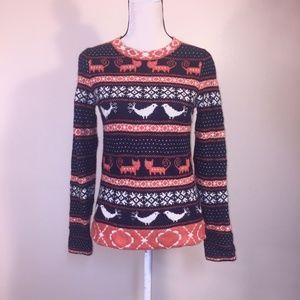 J Crew Sweater XS Farmyard Fair Isle Wool Angora